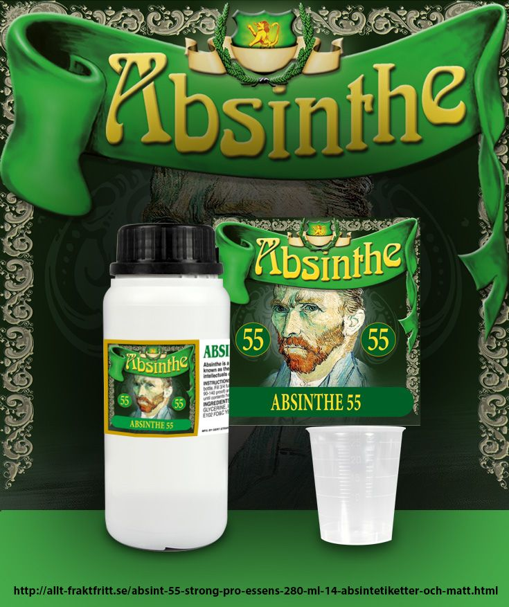 Opaliserar i vatten som riktigt Absinthe ska göra. Detta på grund av att riktiga Absinthe ingredienser används. Blanda med fördel med starkare sprit, helst 60-70% efter smak.   280 ml Essens ger 14 st 750 ml flaskor Absinthe 55 när innehållet blandas med sprit.   Du får även med 14 etiketter du kan sätta på flaskorna samt mått för att dosera lagom mängd till en 75 cl flaska. Mer information och tydliga instruktioner medföljer på etiketten till flaskan