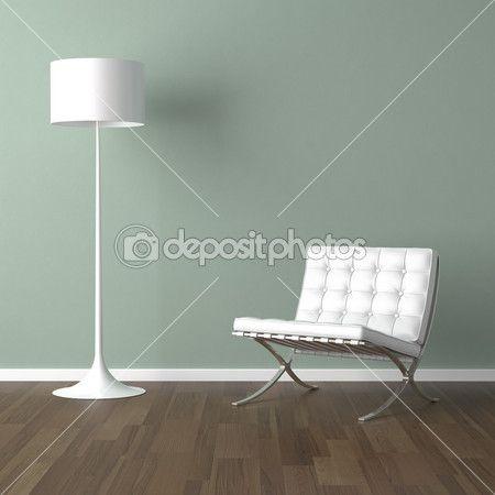 interieur design scène met een witte moderne stoel en lamp op een bleke groene muur — Stockbeeld #8208371