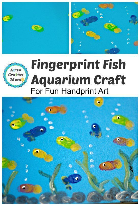 """This would be terrific framed, wouldn't it? Great theme for a kids bathroom. Colorful and """"moves"""" from duty station to duty station. : ) ---   Fingerprint Fish Aquarium Craft"""