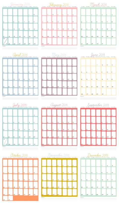 2016 printable calendar pages  i u0026 39 m going to print this