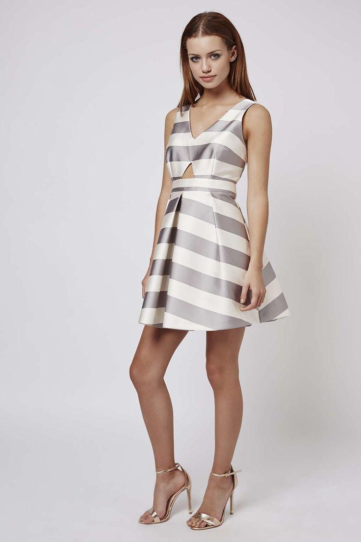 Photo 3 of PETITE Cut-Out Stripe Prom Dress
