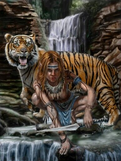 Elf with tiger | Faries/Witches/Elves/Angels | Pinterest ...