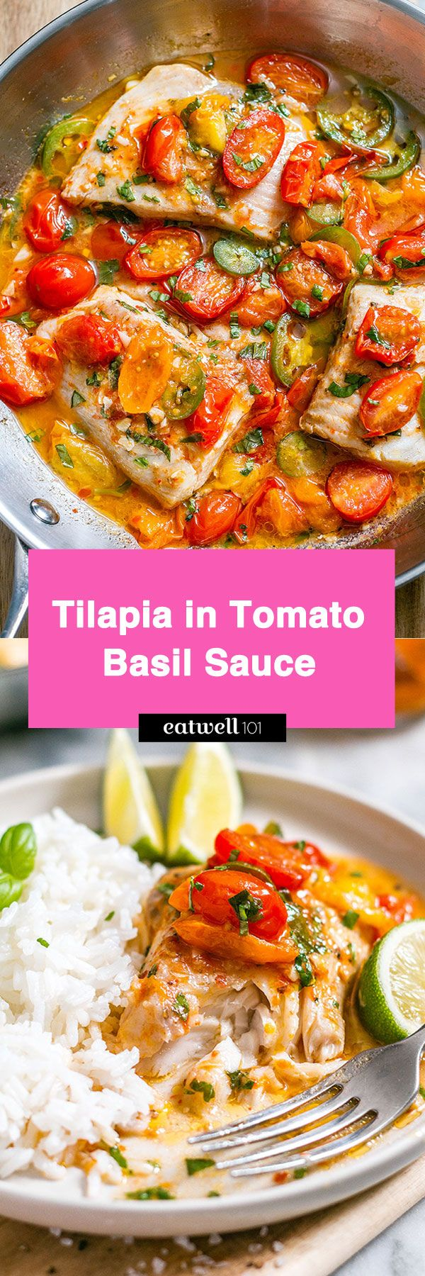 Made in 25 min from start to finish, this pan-seared tilapia recipe hits the sweet spot with its delicious tomato basil sauce.