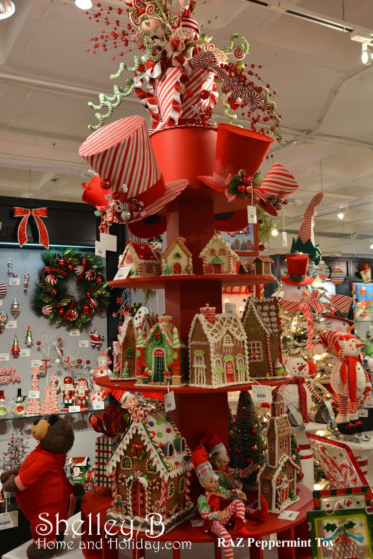RAZ Peppermint Toy Clay Dough Gingerbread Houses and Christmas Top Hats available at shelley b home and holiday.com