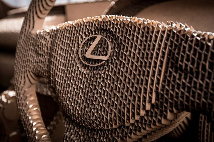 #Lexus unveiled a full-size model replica of its IS compact sports sedan, created from 1,700 10-mm pieces of laser-cut cardboard. #design #LexusDesign