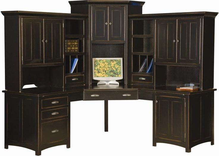 Oak corner desk with hutch office ideas pinterest for Mission style corner hutch