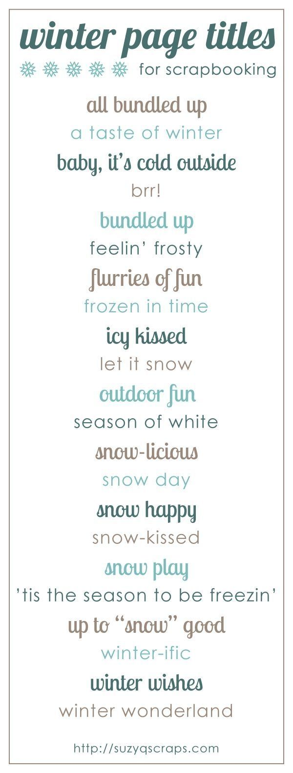 Winter scrapbook page titles by kari
