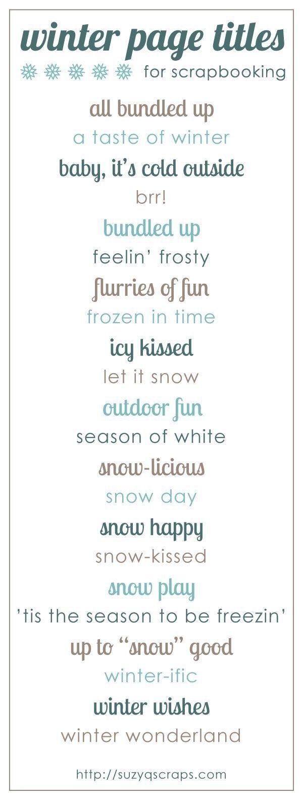 Winter scrapbook page titles by kari