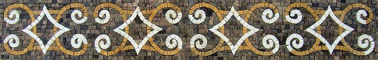 "6"" Handmade Majestic Pattern Motif Border Wall Decor Marble Mosaic Stone Art #Handmade"