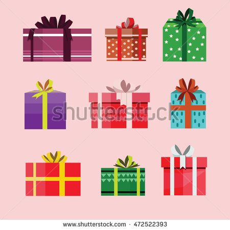 gift box birthday set present with different pattern. vector illustration 104