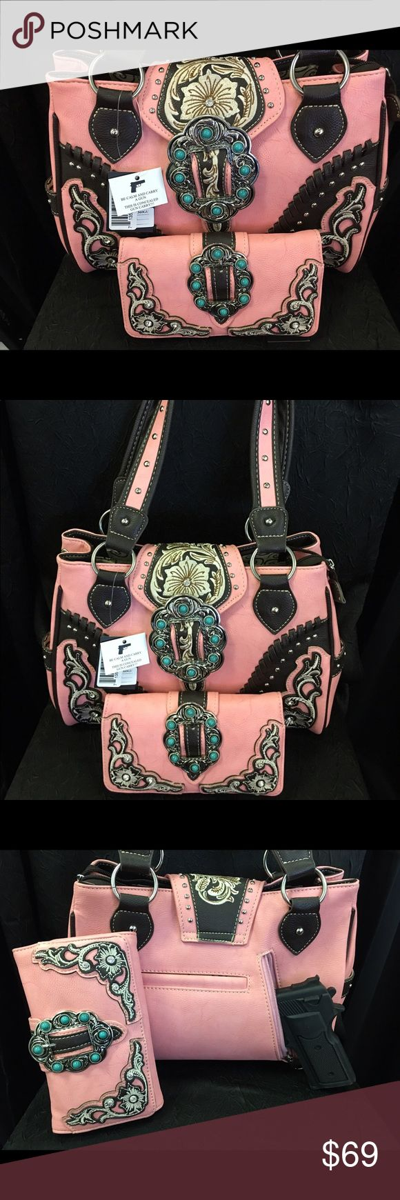 Montana West Pink Bling concealed carry handbag!!! Montana West concealed carry handbag with matching wallet!!!! Montana West Bags Shoulder Bags