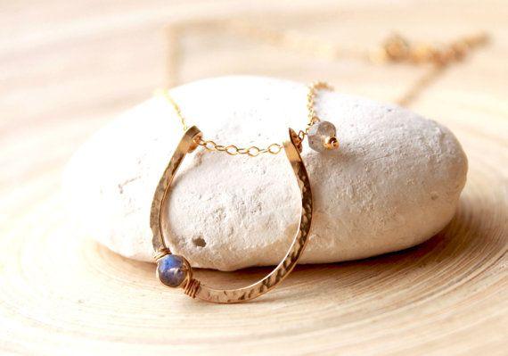 Gold Filled Horseshoe Necklace, Power stone Labradorite necklace, Lucky Horseshoe with Gemstone Labradorite, Lucky Charm necklace, goldfill on Etsy, $52.63 CAD