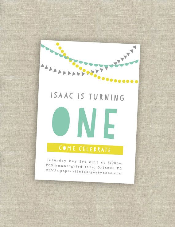 A cute, contemporary invite for a first birthday party
