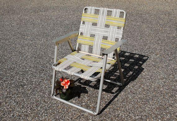 Vintage Childu0027s Aluminum Folding Chair, Vintage Folding Lawn Chair, Childs Folding  Chair, Yellow Webbed Chair   SOLD! | Pinterest | Folding Chairs, Beach ...