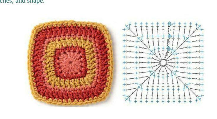 Crochet Granny Square w/ Chart.