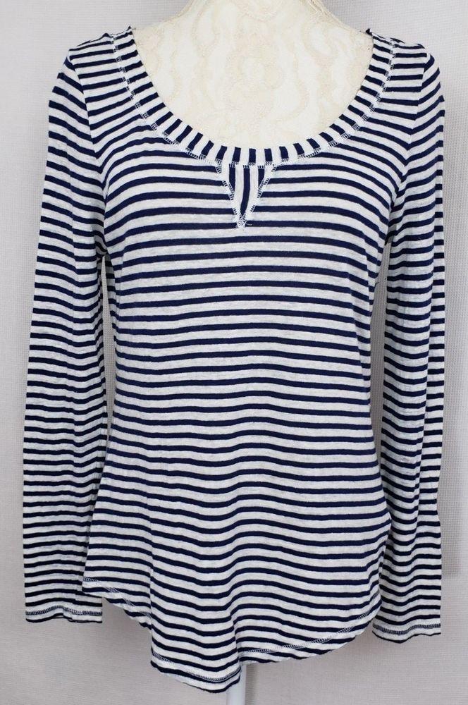 fbb91e8ffa BANANA REPUBLIC Womens Blue White Striped Thin Top Long Sleeve Linen Size  Small