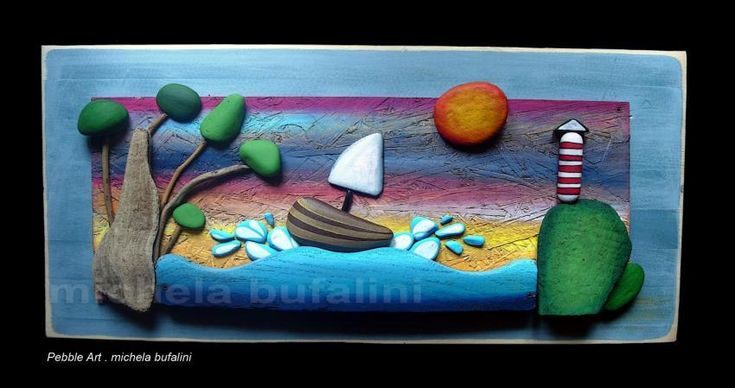 GA75664Regali del mare / assemblaggio sassi dipinti e legno