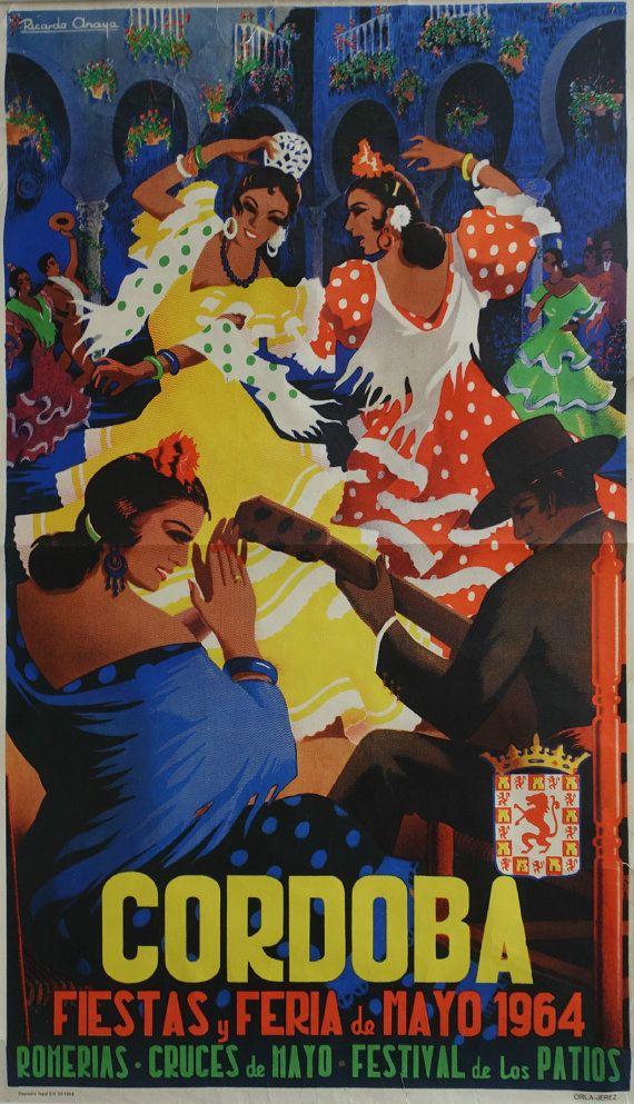 1964 Feria de Cordoba  Spanish Festival Poster  by OutofCopenhagen