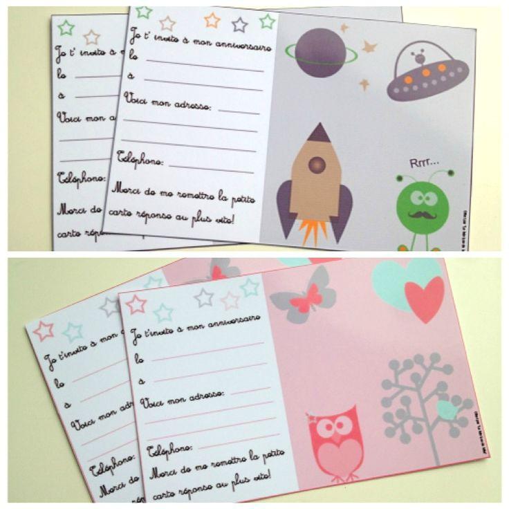 DIY...cartes d' invitations anniversaire fille et garçon à imprimer!