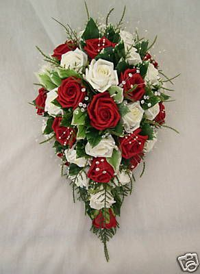 red bouquets   BRIDES TEARDROP BOUQUET IN RED AND IVORY ROSES, WEDDING FLOWERS