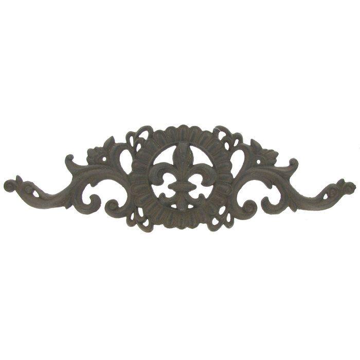 Brown Cast Iron Wall Decor With Fleur De Lis