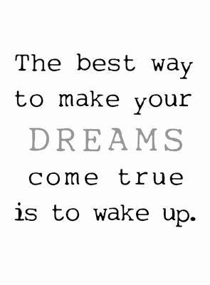 La mejor forma de hacer tus sueños realidad es despertar.