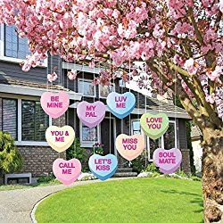 Valentine's Lawn Decorations - Hanging Candy Hearts (Set of 9)