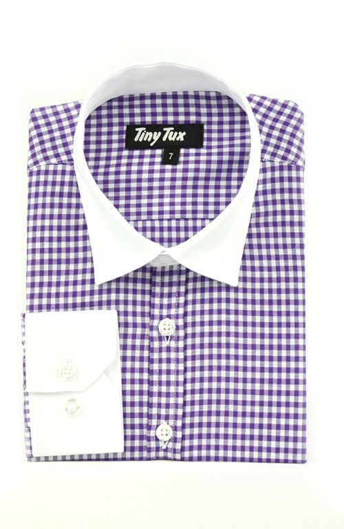 Windsor check lilac boys shirt