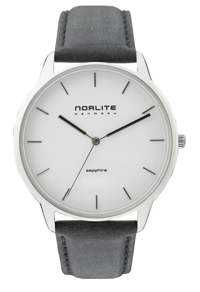 Nortlite - White Case - Antracite Dial Black Leather Strap