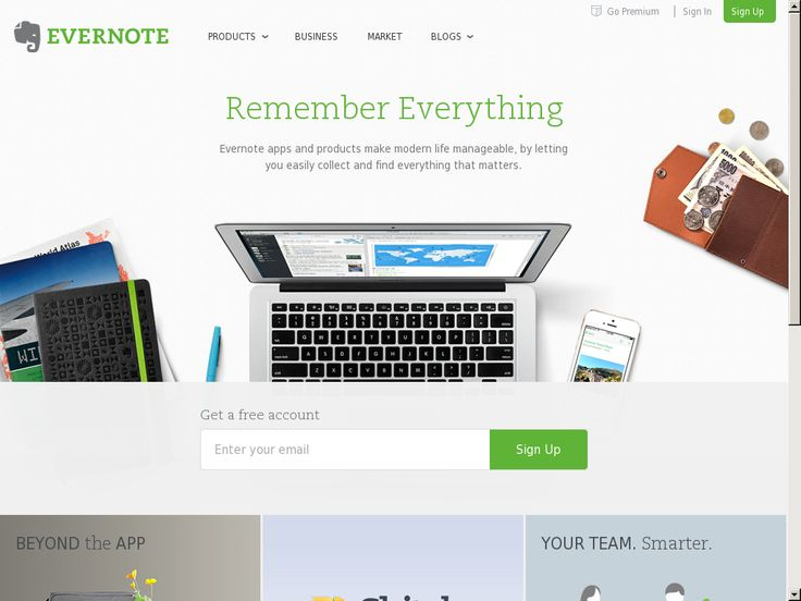 Website 'http://evernote.com/' snapped on Snapito!