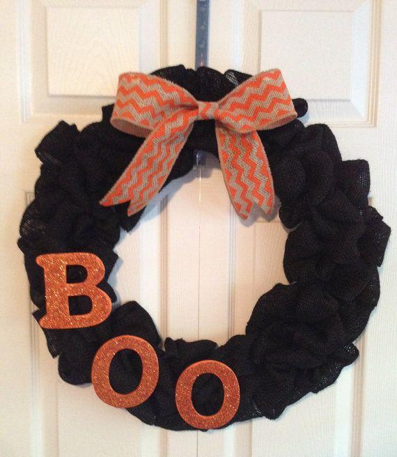 Halloween Black Burlap Wreath with Chevron Burlap Bow