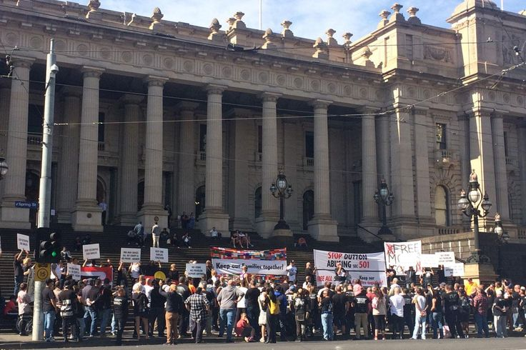 Associates and supporters of the Rebels Motorcycle Club have protested in Melbourne today over alleged bikies facing deportation many of them New Zealanders
