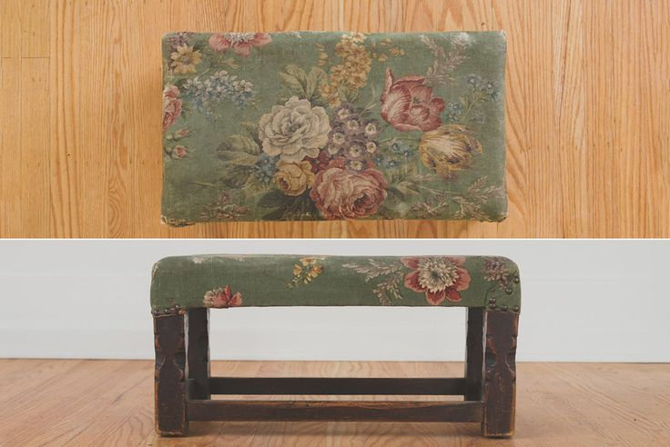 Vintage Floral and Oak Ottoman - Foot Stool, Carved Oak Frame, Distressed Floral Upholstery, Seating, Stool, Foot Rest