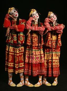 """Joffrey Ballet production of Nijinsky's """"Rites of Spring.""""  Tribal and raw, Nijinsky's dance is set to Stravinsky's iconic score with scenery and authentic Himalayan costumes by Nikolai Roerich."""