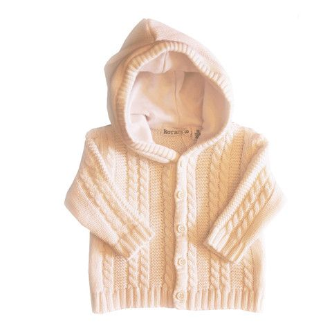 Cable Knit Hooded Jacket - White