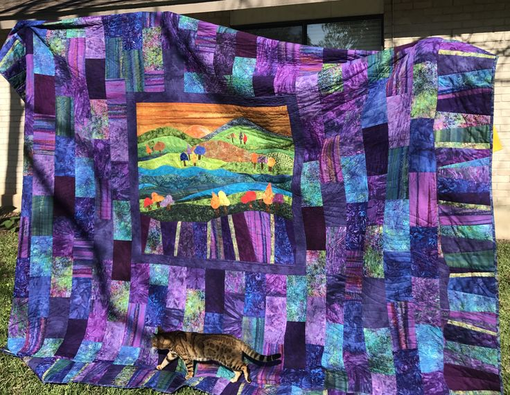 """""""Kaleidoscope"""" king-size quilt created, pieced and quilted by Pat Hopf for Suzi and Cosmo"""
