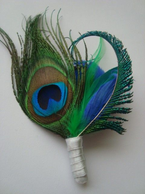 Weddings peacock boutonniere for the groom by eeek by eeekdesigns, $24.00