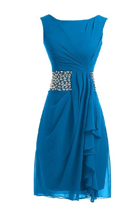 Sunvary 2015 Short Cocktail Dresses Mother of the Bride Dresses Chiffon - US Size 4- Blue