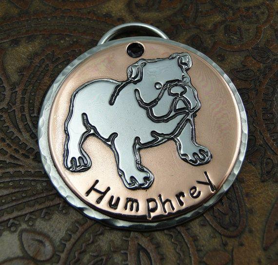 English Bulldog Custom Handmade Dog ID Tag on Etsy, $38.00