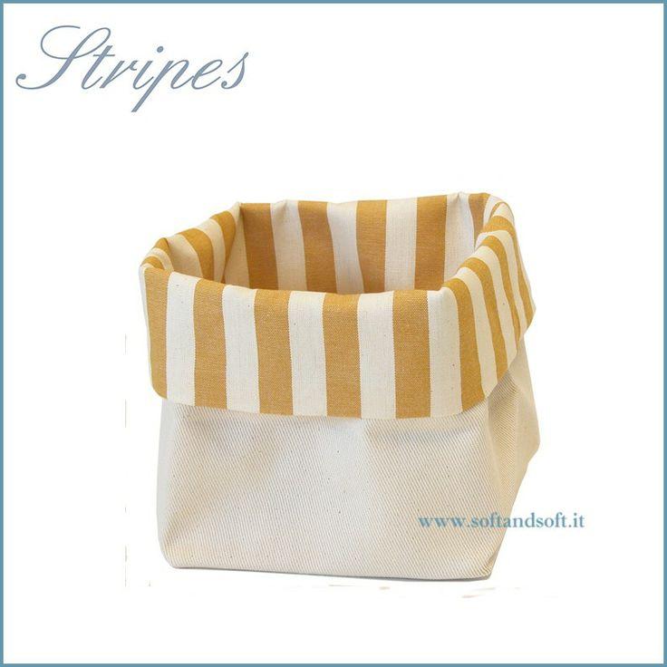 Stripes Cestino Porta Pane da tavola in puro cotone Made in Italy giallo