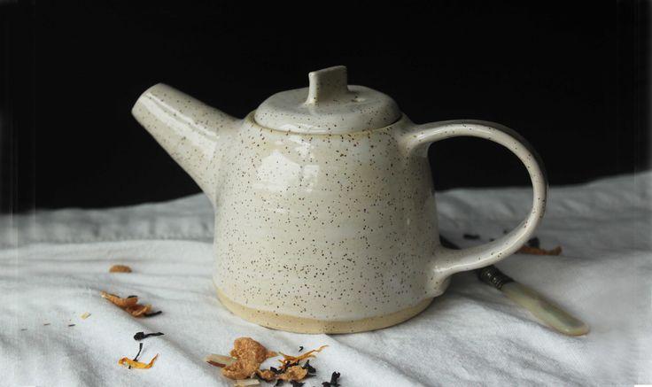 White glazed stoneware teapot - Stinging Nettle Studio