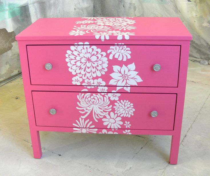pink dresser w white flowers ~ Paint solid color first then paint stencils on