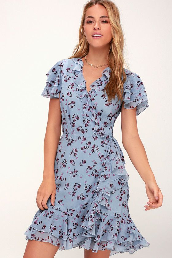 bfe0ab73c5 Wear the the WAYF Madlyn Light Blue Floral Print Mini Wrap Dress for a  sweet look! A fitted waist tops a flirty wrap skirt with a ruffled trim and  hem.