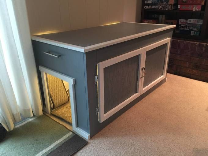 We built a litter box enclosure for our cats - Album on Imgur