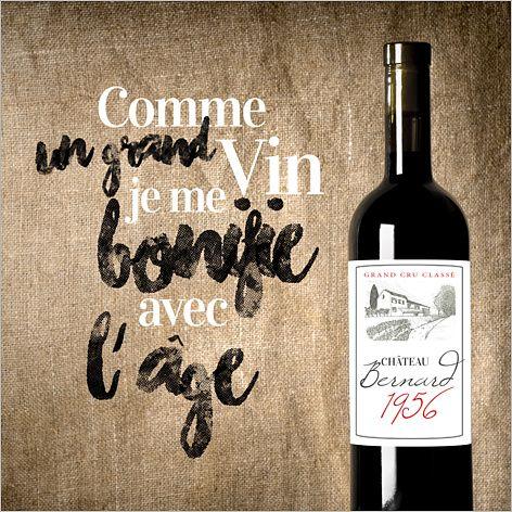 """Carte d'invitation anniversaire : Anniversaire millésimé / """"Comme un grand vin, Je me bonifie avec l'âge"""" à personnaliser sur Popcarte.com"""