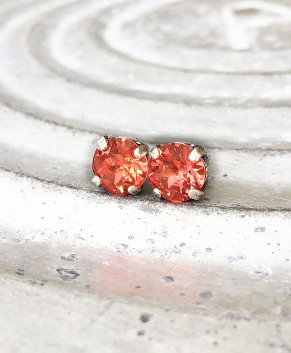 Bright Studs -  Every Day Studs - Girlfriend Gift - Peach Earrings - Padparadscha - Sensitive Ears - Glittering Earrings - Circle Studs