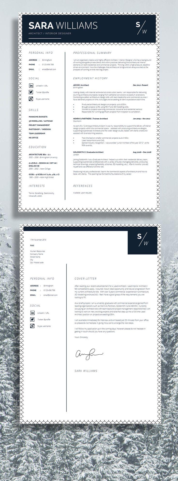 Sara Williams Architect CV / Resume - A Professional Approach / #Resume
