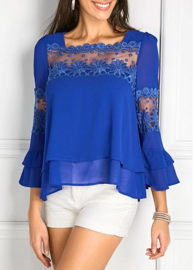 Cheap Royal Blue Blouse 84