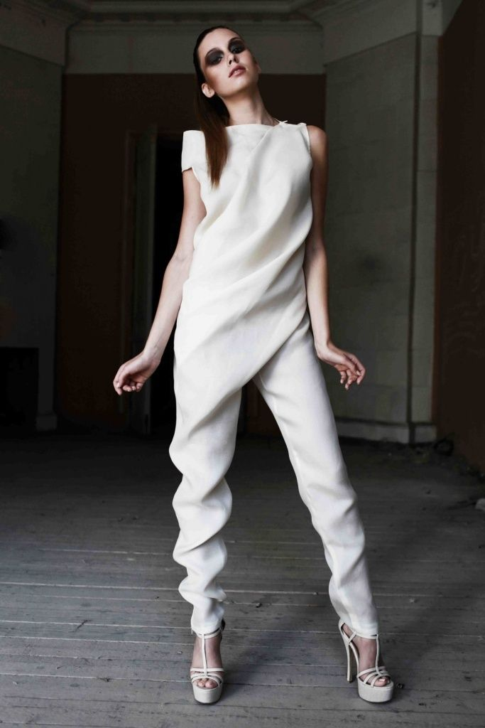 Beautifully draped jumpsuit - fluidity in fashion; design details // Ситник Екатерины