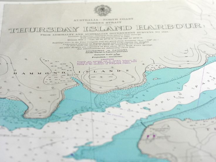 Torres Strait Island vintage nautical chart